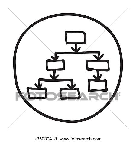 Clip art of doodle flow chart icon k35030418 search clipart doodle flow chart icon infographic symbol in a circle line art style graphic design element web button hierarchy flowchart process structure concept ccuart Choice Image
