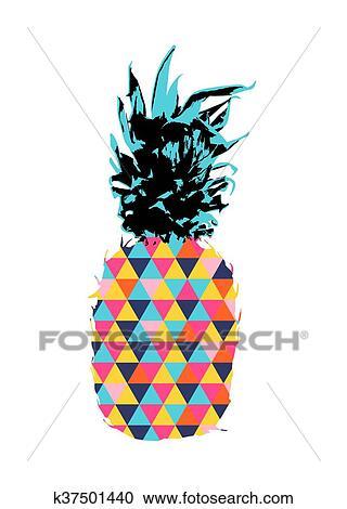 Clipart Estate Ananas Disegno Con Colorare Hipster Forme