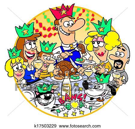 Stock Illustration of Family Christmas Dinner k17503229 ...
