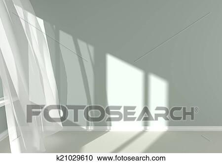 Stock Illustraties - hippe, kamer, binnenste, met, witte, gordijnen ...