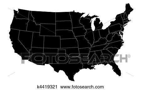 Illustrated Us Map Clipart K4419321