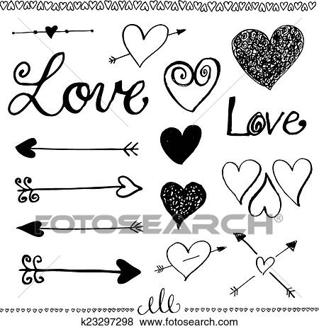 Clip Art Of Ink Hand Drawn Doodle Love Set Heart And Arrow