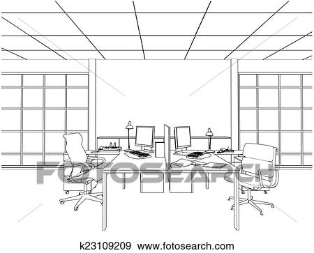 Clip Art of Interior Office Rooms Vector k23109209 - Search Clipart ...