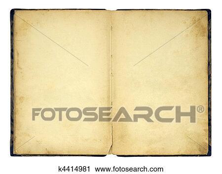 Ouvert Vieux Livre Blanc Isole Banque D Image