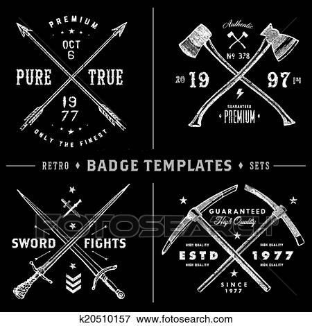 Clip Art Of Retro X Badge And Vintage Logo Template Set K20510157