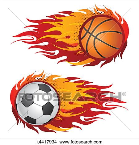clipart of sports equipment with flames k4417934 search clip art rh fotosearch com All Sports Clip Art Sports Clip Art