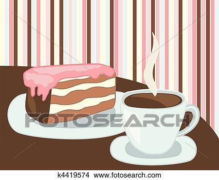Clipart Tasse Kaffee Und Kuchen K4419574 Suche Clip Art