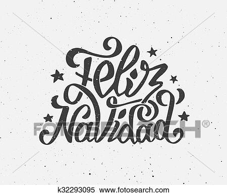Clipart Of Vintage Feliz Navidad Typographic Vector Poster K32293095 - Vintage-navidad