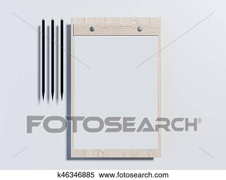stock illustration of wooden clipboard with paper sheets 3d