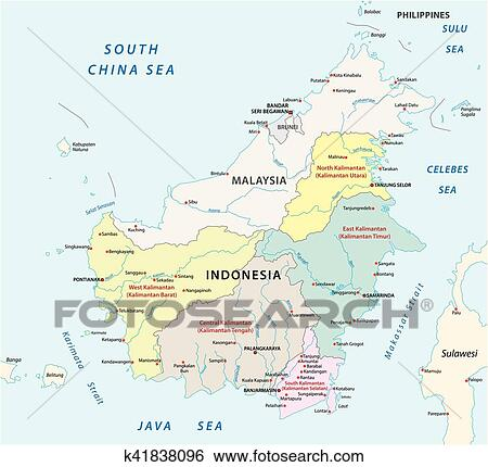 Clip Art Of Administrative And Political Map Of Indonesia S