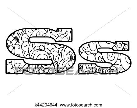 Anti coloring book alphabet, the letter S vector ...