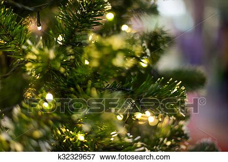 Picture Of Bokeh Light On Christmas Tree Blurred Background