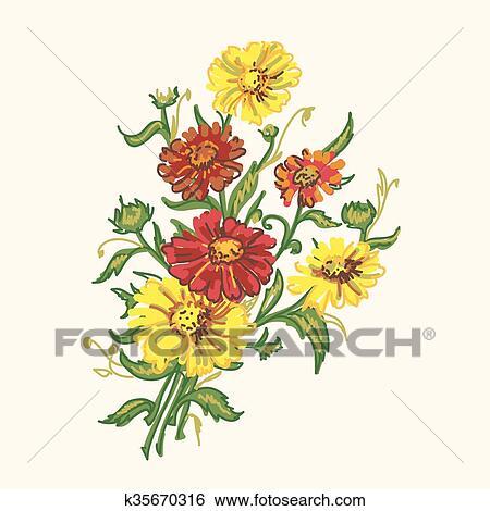 clipart bouquet fleurs sauvages k35670316 recherchez des cliparts des illustrations des. Black Bedroom Furniture Sets. Home Design Ideas