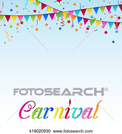 clipart of carnival background with flags confetti text k18020930