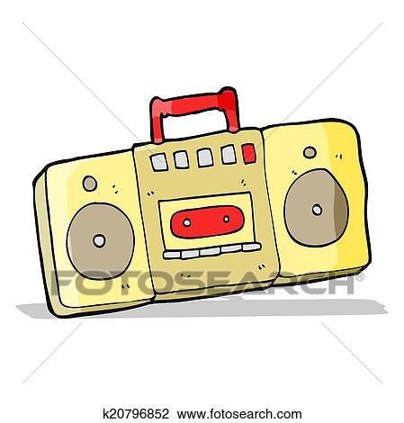 clipart of cartoon radio cassette player k20796852 search clip art rh fotosearch com Television Clip Art Headphones Clip Art