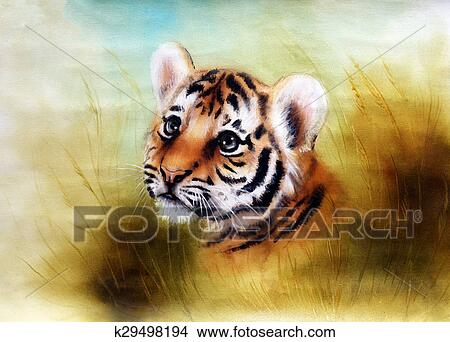 A Beautiful Airbrush Painting Of An Adorable Baby Tiger Head Looking Out From Green Grass Surroundings