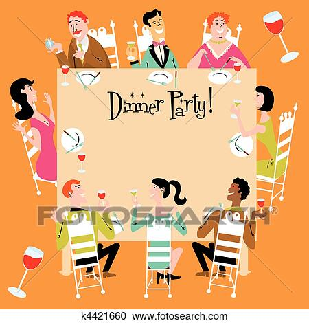 clipart of dinner party invitation k4421660 search clip art