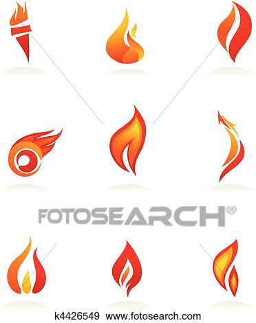 Clip Art Of Fire Icons 1 K4426549 Search Clipart Illustration