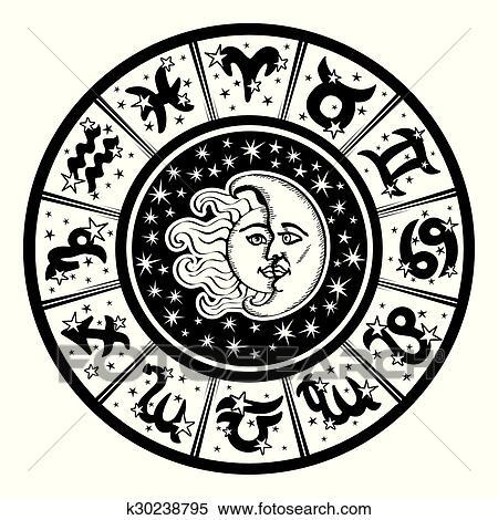 clipart of horoscope circle zodiac sign moon sun black white rh fotosearch com zodiac clipart symbols zodiac clipart free