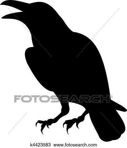 Clipart corbeau vecteur k4423583 recherchez des clip arts des illustrations des dessins - Dessin corbeau facile ...