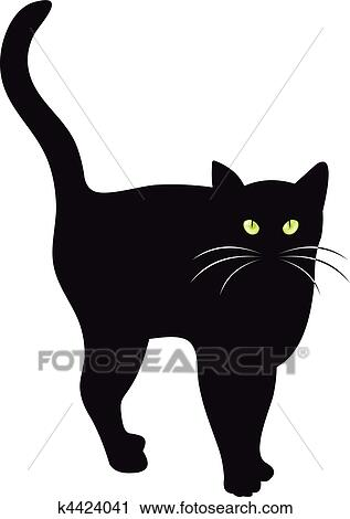 Clipart gatto nero vettore k4424041 cerca clipart for Gatto clipart