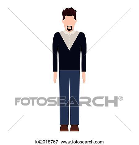Clip Art Of Silhouette Man With Van Dyke Beard K42018767 Search