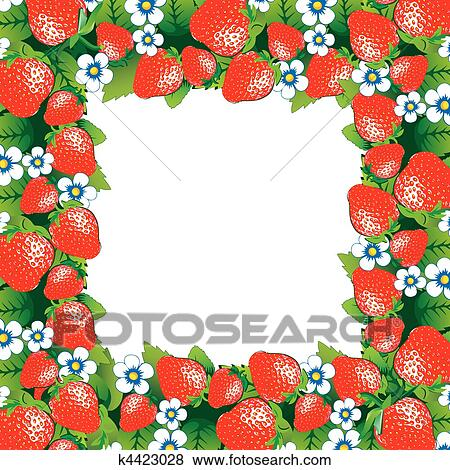 Clip Art of Strawberry frame. k4423028 - Search Clipart ...