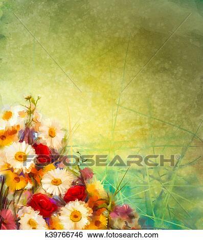 Banque Dillustrations Tableau Aquarelle Vendange Fleurs Fond