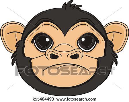 Triste Rosto De Macaco Desenho K55484493 Fotosearch