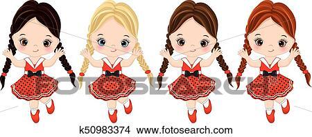 7b3be4028 Vector, lindo, niñas, con, vario, pelo, colores Clipart