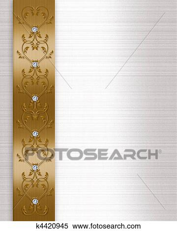 Image And Illustration Composition Background With Gold Ribbon Diamond Accents For Wedding Invitation Border Formal Announcement Or Greeting Card
