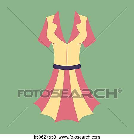 ícone Em Apartamento Desenho Moda Roupas Vestido Verão