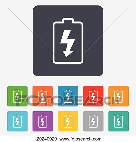 Clip Art Of Battery Charging Sign Icon Lightning Symbol K20240029