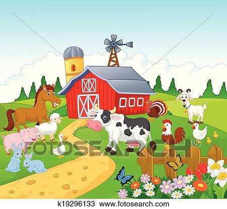 Cartoon Farm background with animal Clipart | k19296133 ...