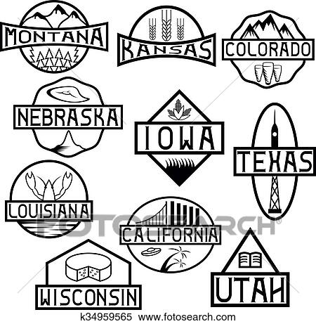 Clipart Of Labels Of States And Landmarks Of Usa K34959565