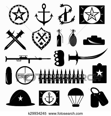 Clipart Of Military Symbols Vector Illustration K29934245 Search
