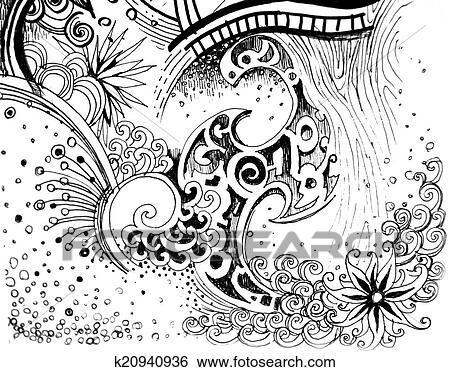 Banque D Illustrations Resume Fleur Noir Blanc Nature Dessin