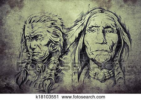 banques de photographies - tatouage, croquis, de, indien amérique