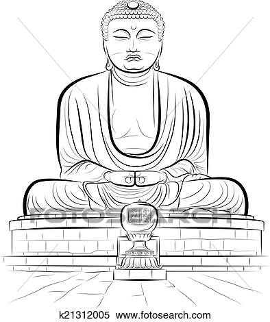 tekening, reus, boeddha, monument clipart   k21312005   fotosearch