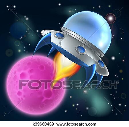 Cartone animato straniero nave spaziale disco volante clip art
