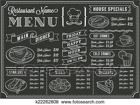 Chalkboard Restaurant Menu Template Clip Art K22262808