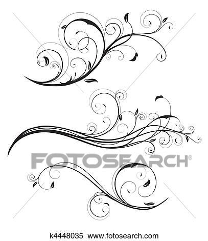 Clipart Of Decorative Floral Elements K4448035 Search Clip Art