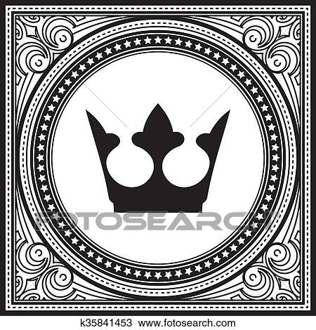 976063e72484 Excepcional, decorativo, encaje, ornamento, cuadrado, vendimia, marco, con,  corona, en, redondo, medio, place. Clipart