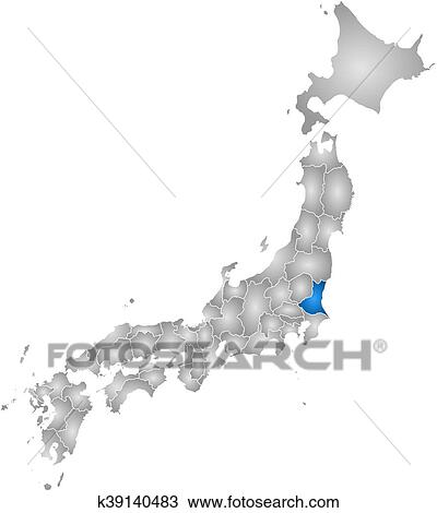 Ibaraki Japan Map.Clipart Of Map Japan Ibaraki K39140483 Search Clip Art