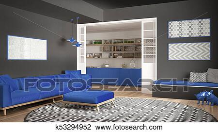Minimalist, wohnzimmer, mit, sofa, groß, runder, teppich, und, kueche, in,  dass, hintergrund, grau, blau, marine, modernes, inneneinrichtung ...