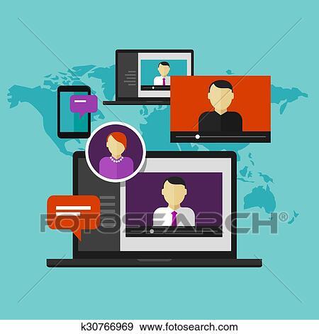 clip art of webinar online training education concept distance