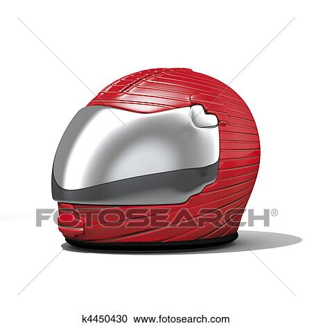 モーターバイク 赤 ヘルメット クリップアート切り張りイラスト