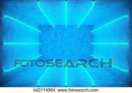 Ilration Abstract Blue Room Interior With Neon Lamps Futuristic Architecture Background Box Concrete Wall