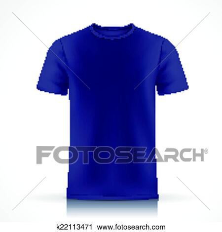 Blue T Shirt Template Isolated On White Background