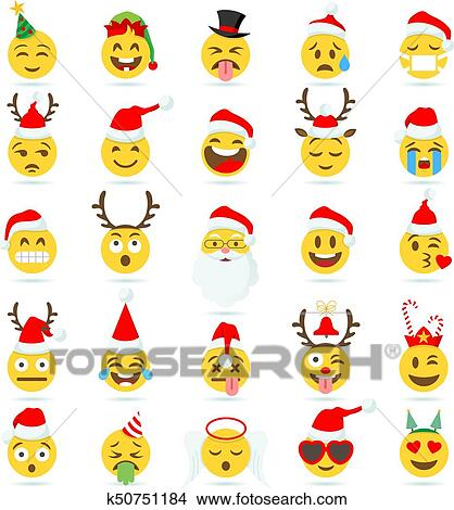 big set of 25 high quality vector cartoonish emoticons with christmas theme